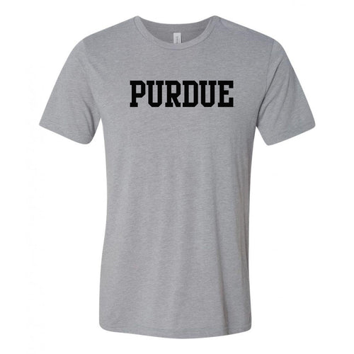 Purde University Boilermakers Basic Block Canvas Triblend T Shirt - Athletic Grey Triblend