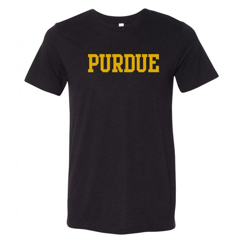 Purde University Boilermakers Basic Block Canvas Triblend T Shirt - Solid Black Triblend