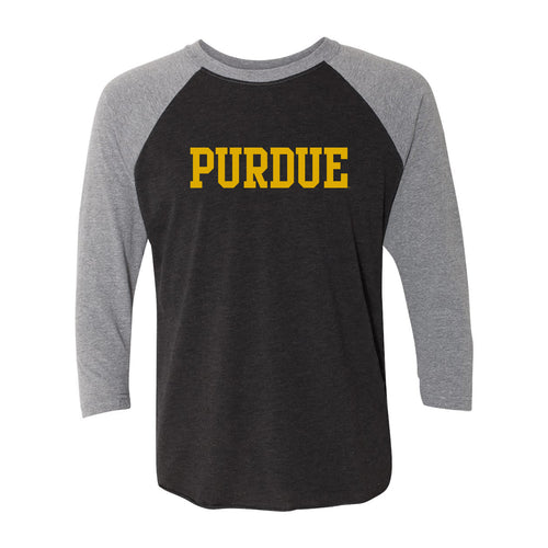 Purdue University Boilermakers Basic Block Next Level Raglan - Vintage Black/Premium Heather