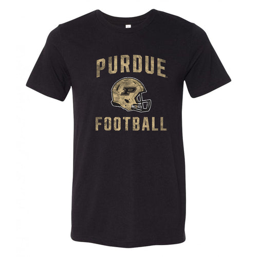 Purdue University Boilermakers Faded Football Helmet Canvas Triblend T Shirt - Solid Black Triblend
