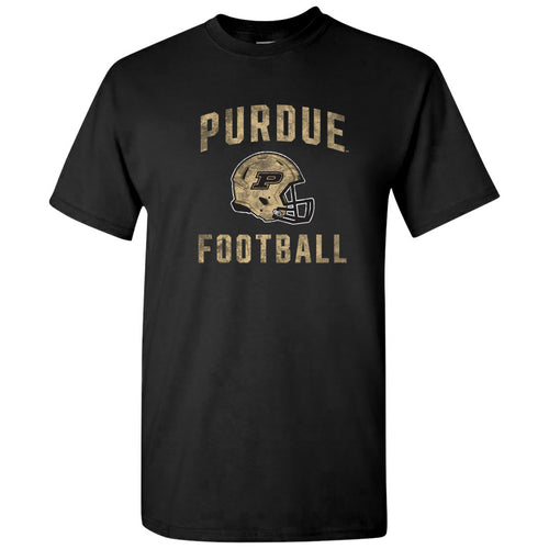 Purdue University Boilermakers Faded Football Helmet Basic Cotton Short Sleeve T Shirt - Black