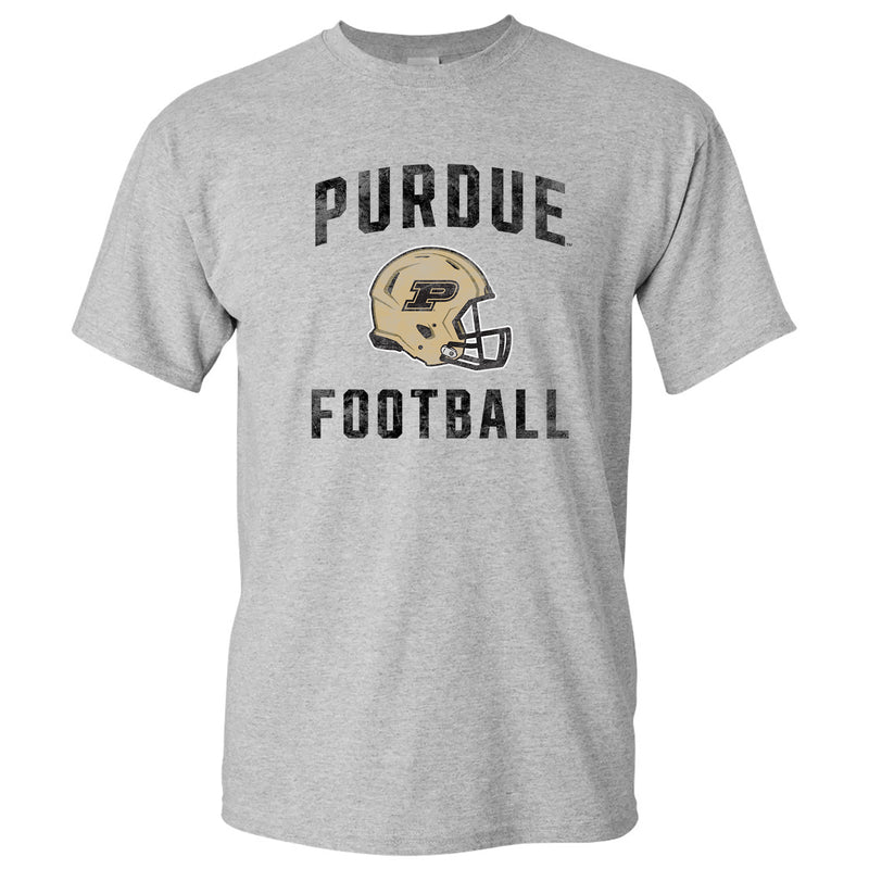 Purdue University Boilermakers Faded Football Helmet Basic Cotton Short Sleeve T Shirt - Sport Grey