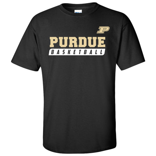 Purdue University Boilermakers Basketball Slant Short Sleeve T-Shirt- Black