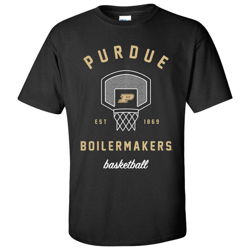 Purdue Boilermakers Basketball Net T-Shirt - Court, College, University - Black