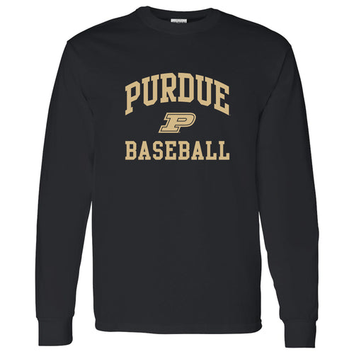 Purdue University Boilermakers Arch Logo Baseball Long Sleeve T Shirt - Black
