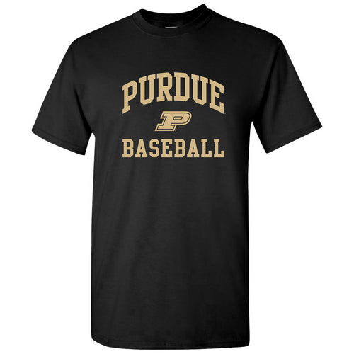 Purdue University Boilermakers Arch Logo Baseball Short Sleeve T Shirt - Black