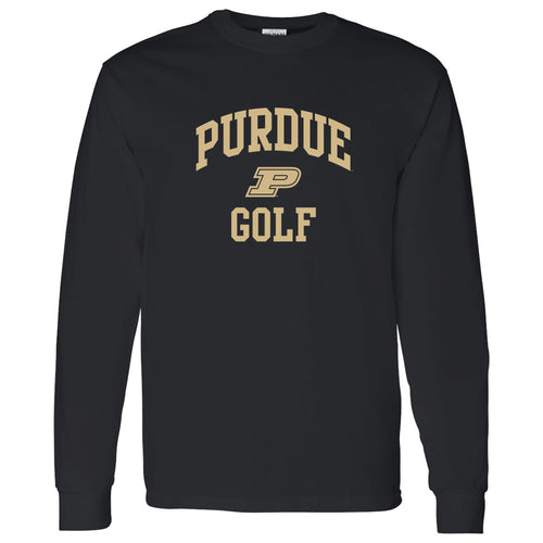 Purdue University Boilermakers Arch Logo Golf Long Sleeve T Shirt - Black