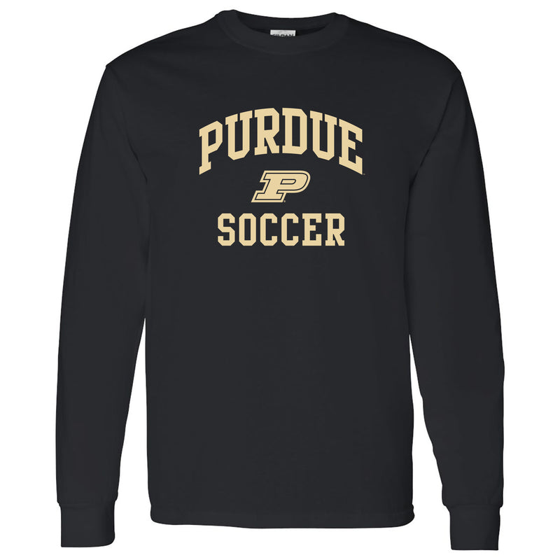 Purdue University Boilermakers Arch Logo Soccer Long Sleeve T Shirt - Black