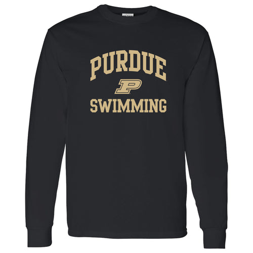 Purdue University Boilermakers Arch Logo Swimming Long Sleeve T Shirt - Black