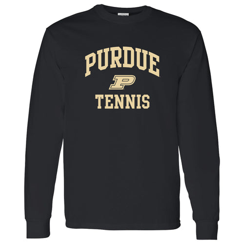 Purdue University Boilermakers Arch Logo Tennis Long Sleeve T Shirt - Black
