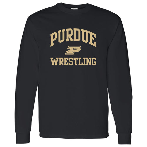 Purdue University Boilermakers Arch Logo Wrestling Long Sleeve T Shirt - Black
