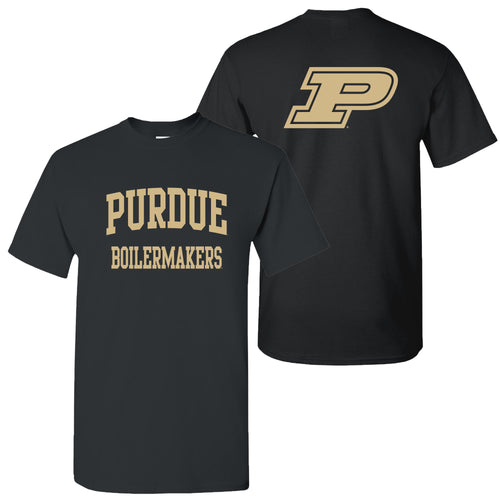 Purdue Front Back Print T Shirt - Black
