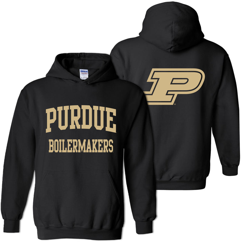 Purdue University Boilermakers Front Back Print Hoodie - Black