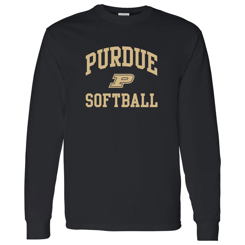 Purdue University Boilermakers Arch Logo Softball Long Sleeve T Shirt - Black