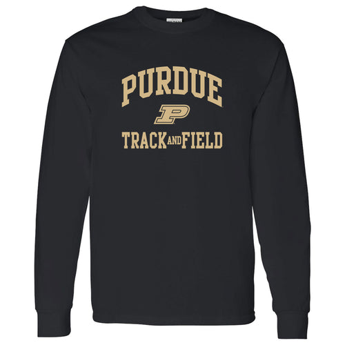 Purdue University Boilermakers Arch Logo Track & Field Long Sleeve T Shirt - Black