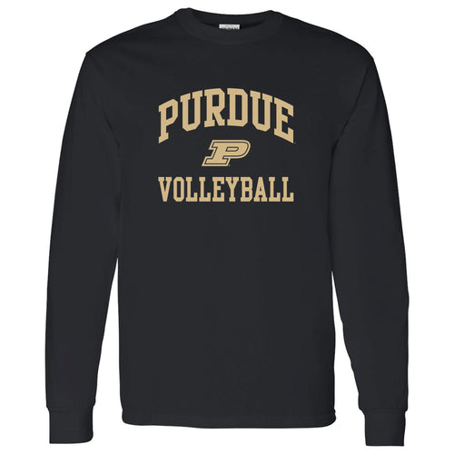 Purdue University Boilermakers Arch Logo Volleyball Long Sleeve T Shirt - Black