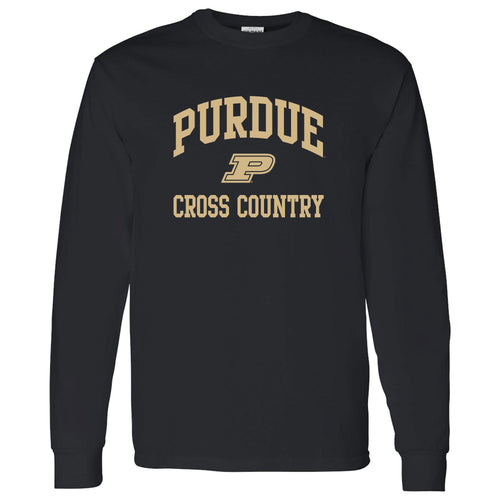 Purdue University Boilermakers Arch Logo Cross Country Long Sleeve T Shirt - Black