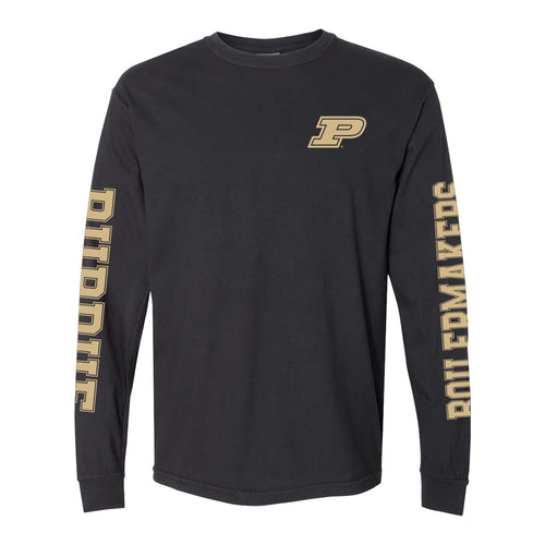 Purdue University Boilermakers Double Sleeve Comfort Colors Long Sleeve T Shirt - Black