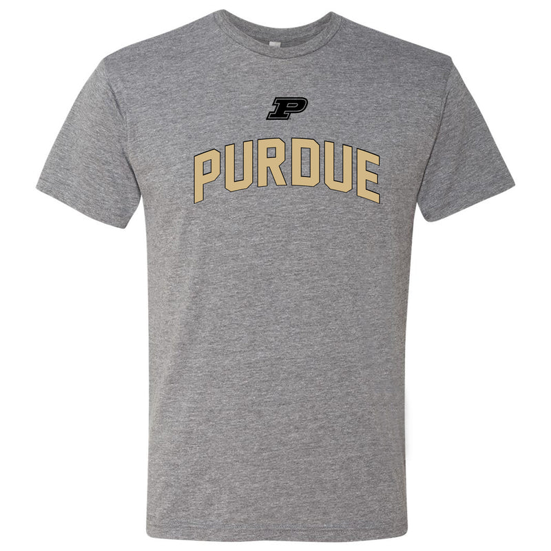 Purdue University Boilermakers Outline Arch Next Level Short Sleeve T Shirt - Premium Heather