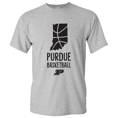 Basketball Brush State Purdue Boilermakers Basic Cotton Short Sleeve T Shirt - Sport Grey