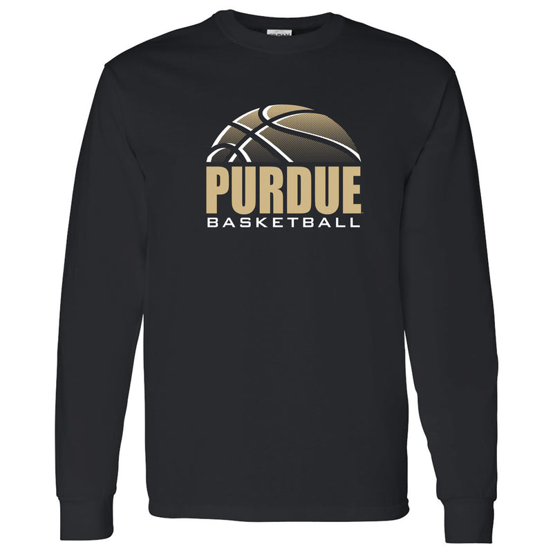 Purdue University Boilermakers Basketball Shadow Long Sleeve T Shirt- Black