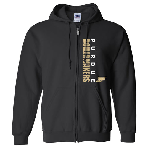 Purdue University Boilermakers Vertical Block Left Chest Full-Zip Hoodie - Black
