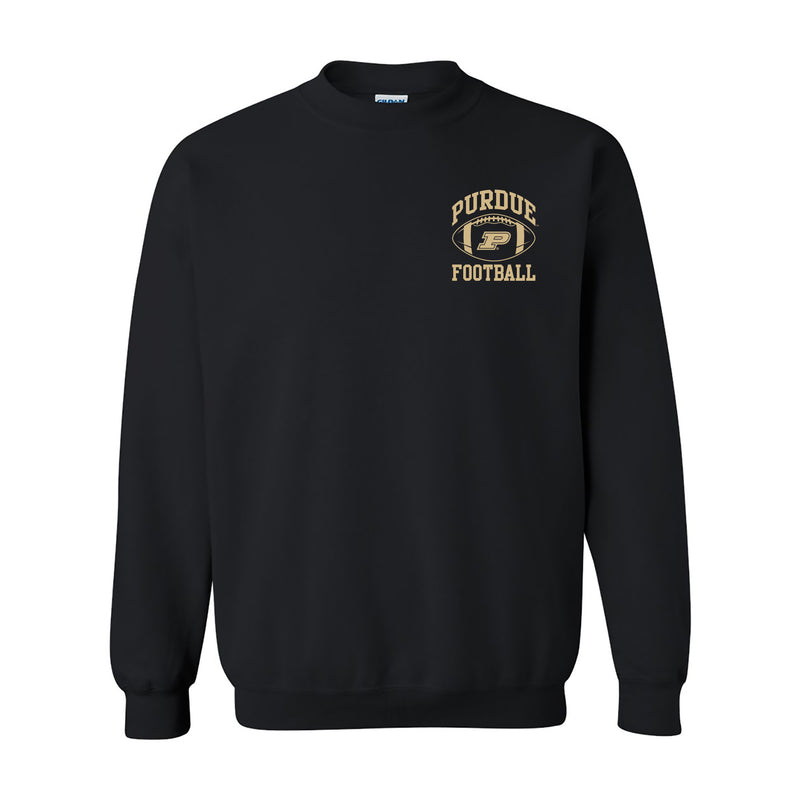 Purdue University Boilermakers Classic Football Arch Left Chest Crewneck Sweatshirt - Black