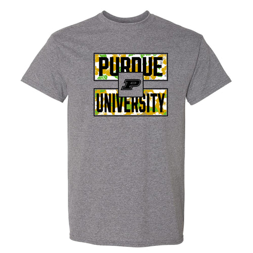 Purdue University Boilermakers Hibiscus Pattern Blocks Basic Cotton Short Sleeve T Shirt - Graphite Heather