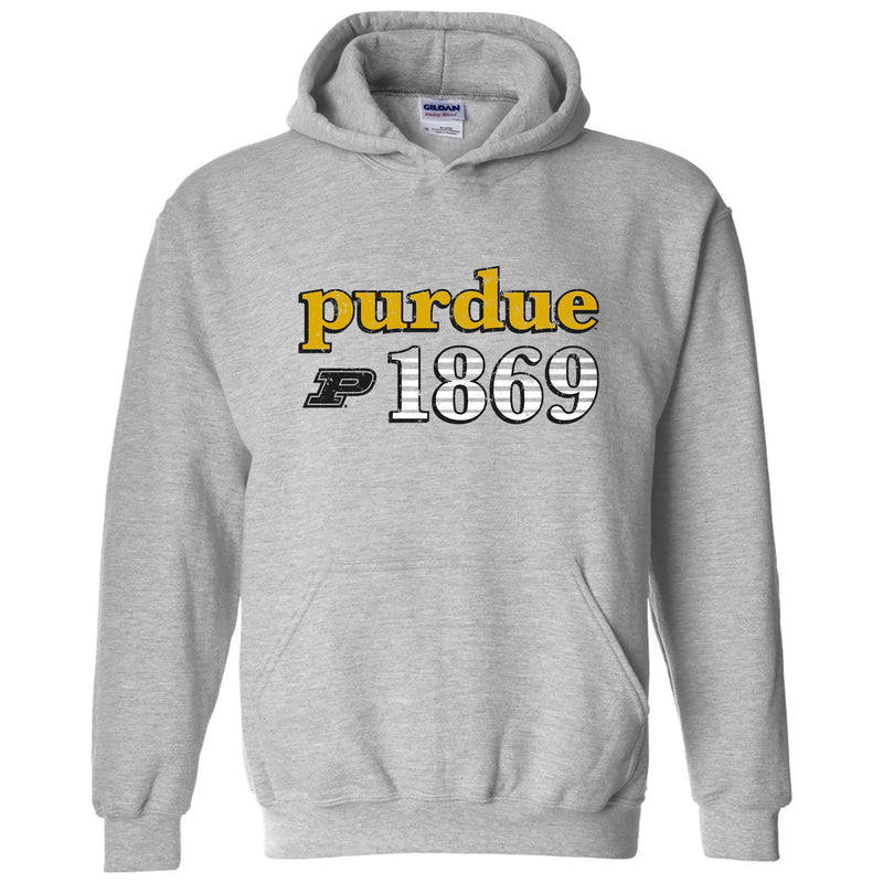 Purdue University Boilermakers Throwback Year Stripe Heavy Blend Hoodie - Sport Grey