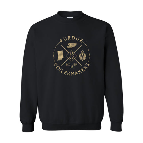 Purdue University Boilermakers Identity Stamp Heavy Blend Crewneck Sweatshirt - Black