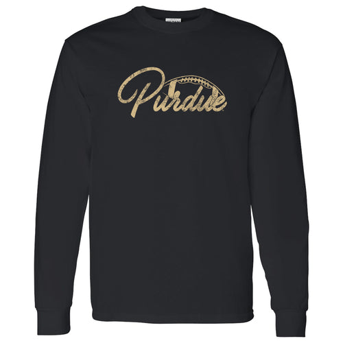 Purdue University Boilermakers Football Script Basic Cotton Long Sleeve T-Shirt - Black