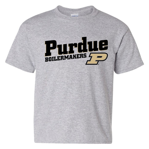 Purdue University Boilermakers Incline Block Basic Cotton Youth Short Sleeve T-Shirt - Sport Grey