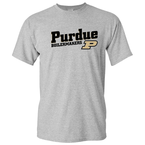 Purdue University Boilermakers Incline Block Basic Cotton Short Sleeve T-Shirt - Sport Grey