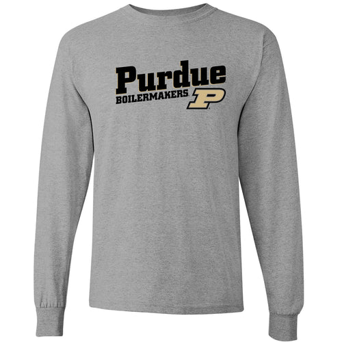 Purdue University Boilermakers Incline Block Basic Cotton Long Sleeve T-Shirt - Sport Grey