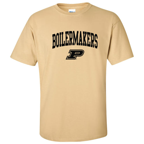 Purdue University Boilermakers Mascot Arch Logo Short Sleeve T Shirt - Vegas Gold