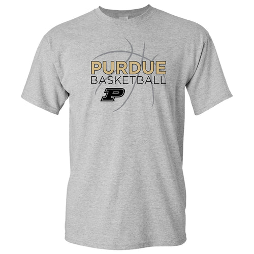Purdue University Boilermakers Basketball Sketch Basic Cotton Short Sleeve T Shirt - Sport Grey