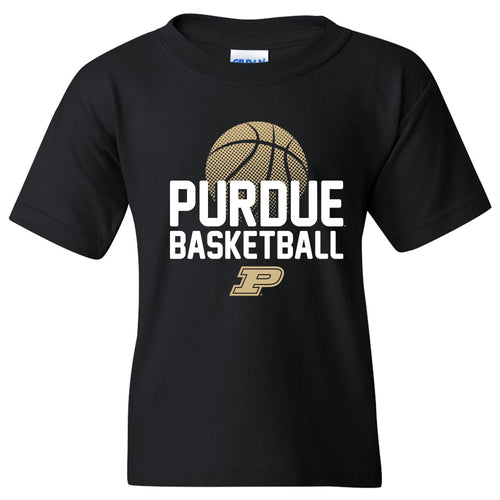 Purdue University Boilermakers Basketball Flux Basic Cotton Youth Short Sleeve T Shirt - Black