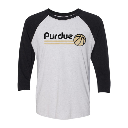 Purdue University Boilermakers Basketball Bubble Next Level Raglan T Shirt - Heather White/Black