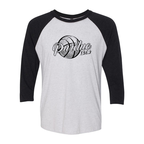 Purdue University Boilermakers Basketball Vignette Next Level Raglan T Shirt - Heather White / Vintage Black