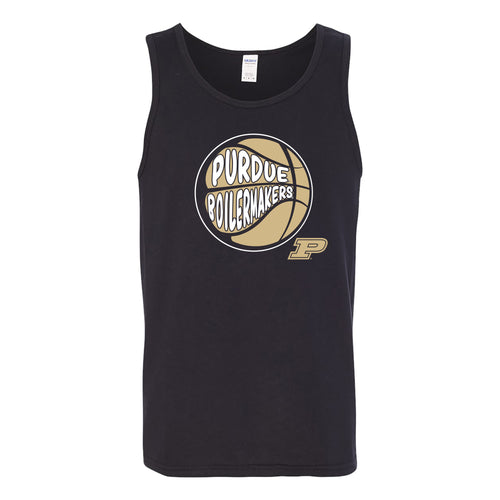 Purdue University Boilermakers Street Basketball Heavy Cotton Tank Top - Black