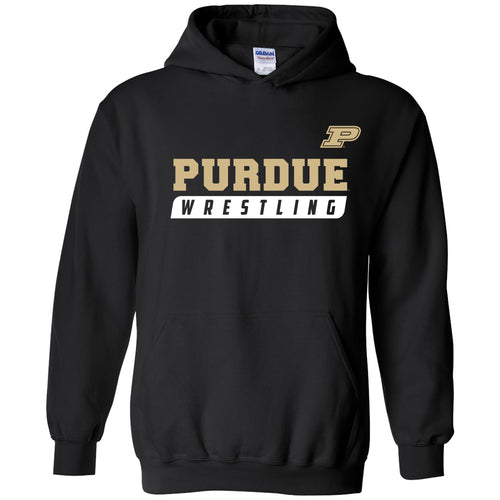 Purdue University Boilermakers Wrestling Slant Heavy Blend Hoodie - Black