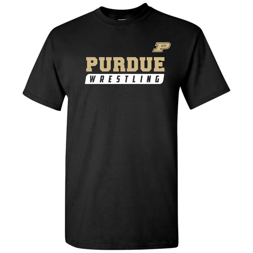 Purdue University Boilermakers Wrestling Slant Basic Cotton Short Sleeve T Shirt - Black