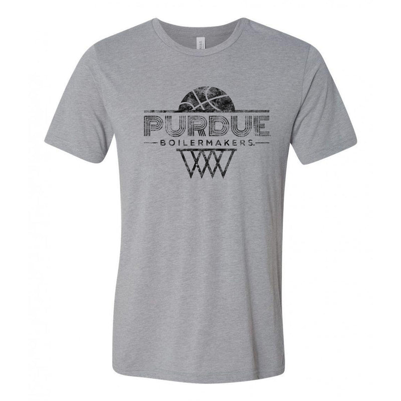 Purdue University Boilermakers Oblique Hoop Canvas Triblend Short Sleeve T-Shirt - Athletic Grey