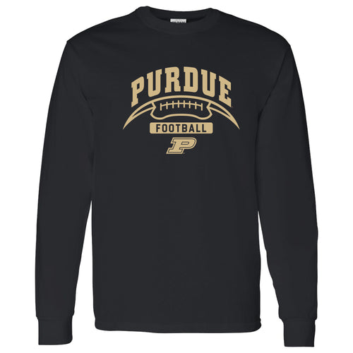 Purdue University Boilermakers Football Crescent Long Sleeve T Shirt - Black