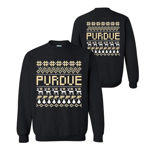 Purdue University Boilermakers Ugly Sweater Crewneck Sweatshirt - Black