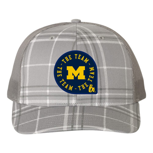 Block M TTT Circle Patch Michigan Wolverines Trucker Snapback - Plaid Grey/Charcoal