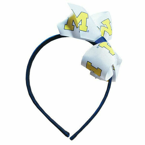 Block M Junior Headband/Bow - Navy/Maize
