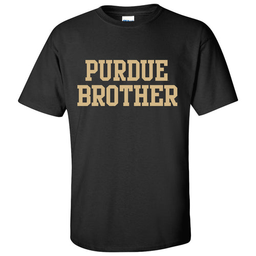 Purdue University Boilermakers Basic Block Brother Next Level Short Sleeve T Shirt - Black