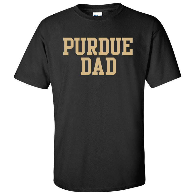 Purdue University Boilermakers Basic Block Dad Basic Sleeve T Shirt - Black