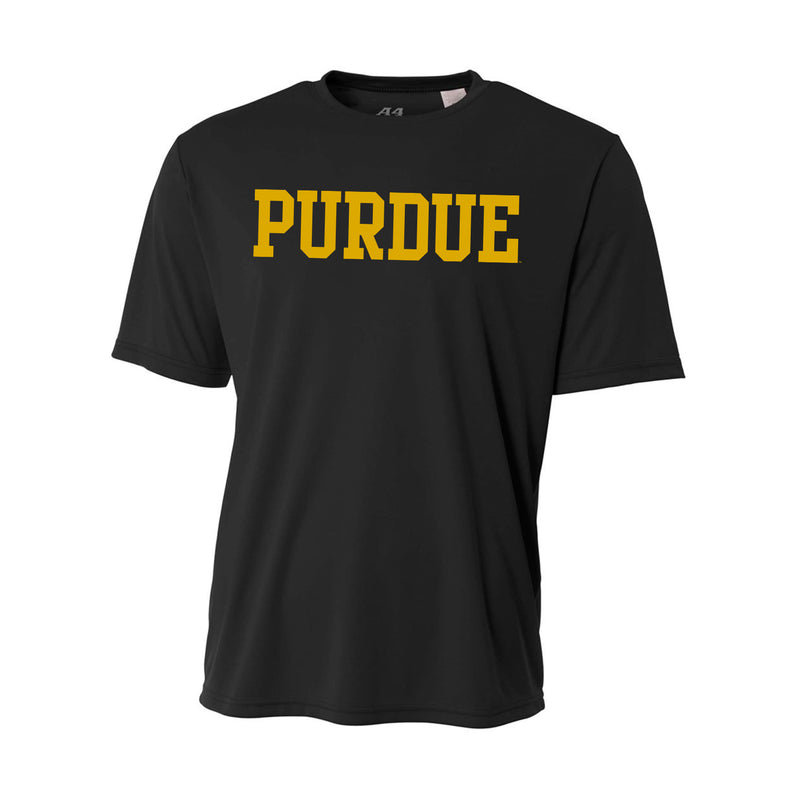 Purdue University Boilermakers Basic Block A4 Performance Short Sleeve T Shirt - Black